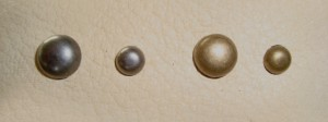"3/8s"" or ¼"" cabochon round studs; nickel or brass antique finish"