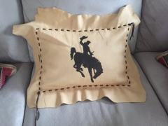 Leather-Pillow-with-painted-Bucking-Bronco